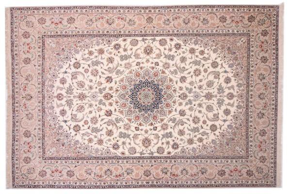 Perser Isfahan 369x255 Handgeknüpft Teppich 260x370 Beige Orientalisch Kurzflor Orient