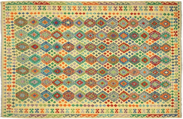 Afghan Maimana Kelim Bunt 344x253 Handgewebt Teppich 250x340 Bunt Geometrisch Orient