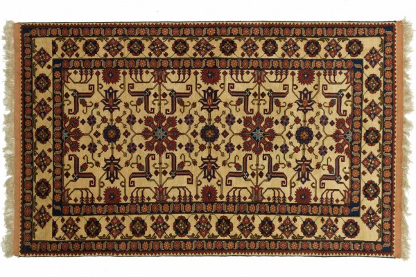 Afghan Mauri Kabul 162x121 Handgeknüpft Teppich 120x160 Beige Geometrisch Muster