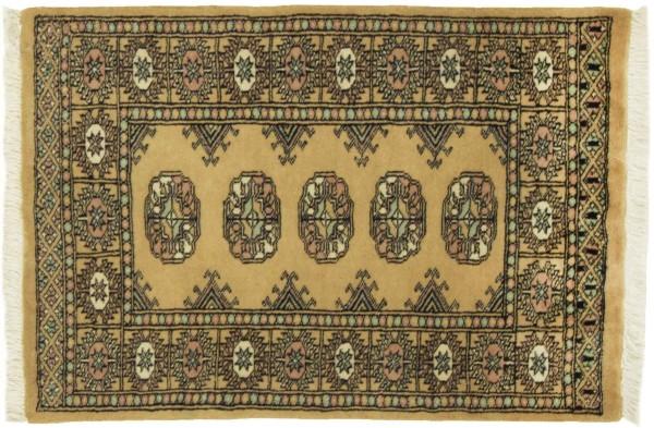 Pakistan Buchara 92x63 Handgeknüpft Teppich 60x90 Beige Geometrisch Muster Kurzflor
