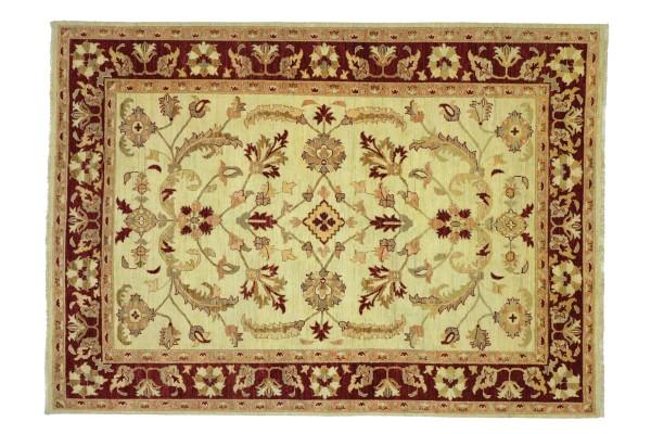 Afghan Chobi Ziegler 243x196 Handgeknüpft Teppich 200x240 Beige Floral Kurzflor Orient