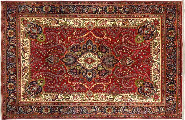 Perser Tabriz 340x247 Handgeknüpft Orientteppich 250x340 Rot Spiegelmuster Wolle