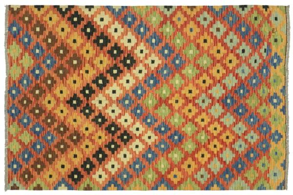 Afghan Maimana Kelim Bunt 196x150 Handgewebt Teppich 150x200 Bunt Geometrisch Orient