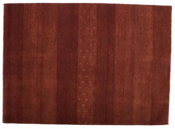 Loribaft Silk Touch 196x142 Handgeknüpft Teppich 140x200 Rot Einfarbig Kurzflor Orient
