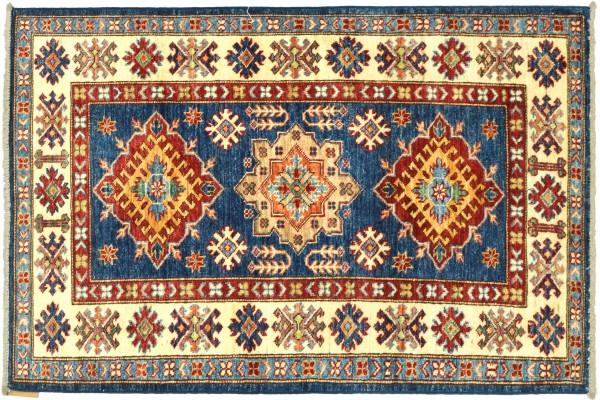 Afghan Kazak Fein 123x84 Handgeknüpft Orientteppich 80x120 Blau Umrandung Wolle