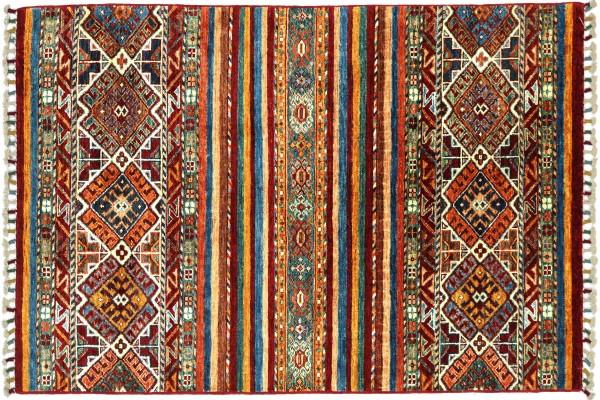 Afghan Ziegler Khorjin 151x94 Handgeknüpft Orientteppich 90x150 Rot Streifen Wolle
