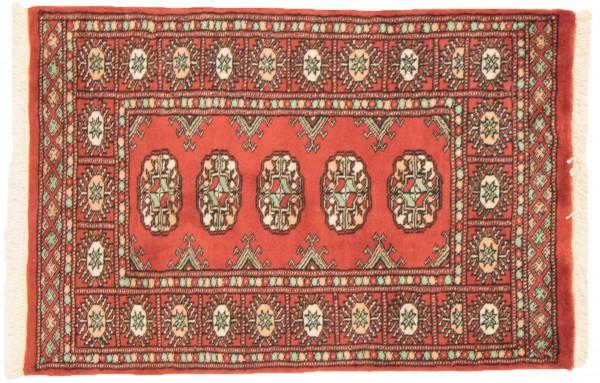 Pakistan Buchara 95x63 Handgeknüpft Teppich 60x100 Orange Geometrisch Muster Kurzflor