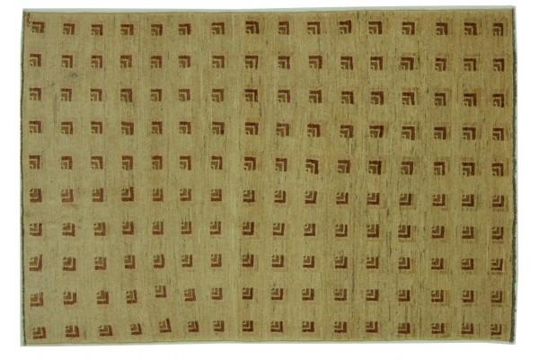Afghan Modern Chobi Ziegler 181x115 Handgeknüpft Teppich 120x180 Beige Geometrisch