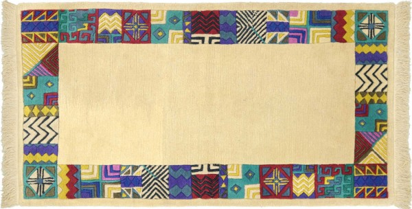 Tibet Nepal Teppich 90x160 Handgeknüpft Beige Umrandung Wolle Kurzflor Rug