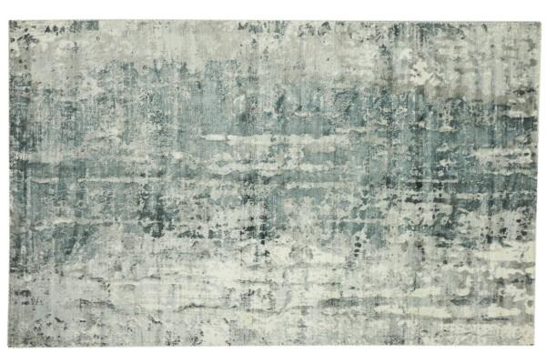 Handloom Vintage 230x160 Handgewebt Teppich 160x230 Blau Abstrakt Handarbeit Orient