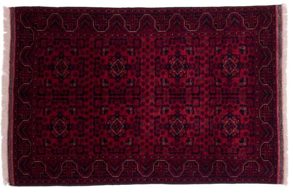 Afghan Belgique Khal Mohammadi 145x97 Handgeknüpft Teppich 100x150 Rot Geometrisch