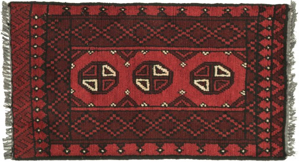 Afghan Andkhoi Aqcha 100x50 Handgeknüpft Teppich 50x100 Rot Geometrisch Muster Kurzflor