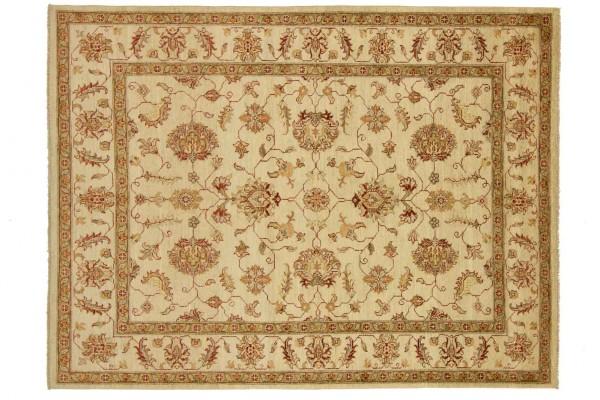 Afghan Chobi Ziegler 201x152 Handgeknüpft Teppich 150x200 Beige Blumenmuster Kurzflor