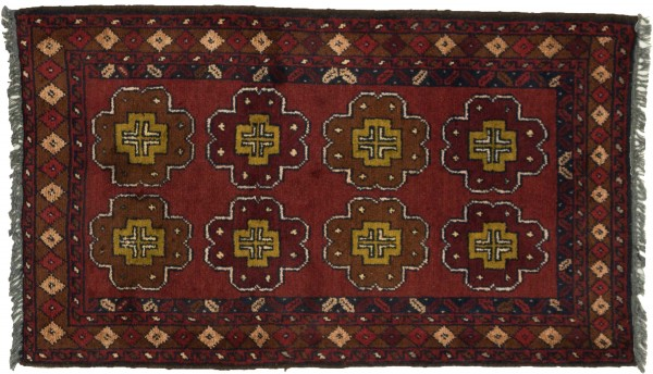Afghan Khal Mohammadi 95x50 Handgeknüpft Teppich 50x100 Braun Geometrisch Muster