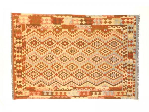 Afghan Maimana Kelim Bunt 305x206 Handgewebt Teppich 210x310 Mehrfarbig Geometrisch
