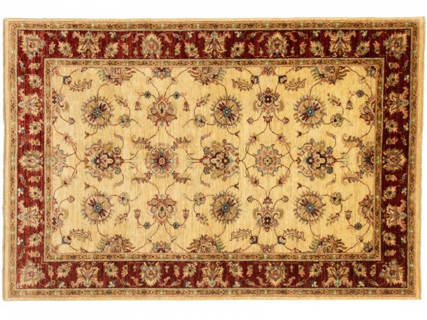 Afghan Chobi Ziegler 184x128 Handgeknüpft Teppich 130x180 Gold Blumenmuster Kurzflor