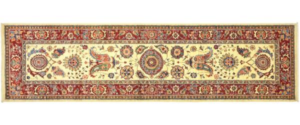 Afghan Chobi Ziegler 296x83 Handgeknüpft Orientteppich 80x300 Läufer Beige Blumenmuster