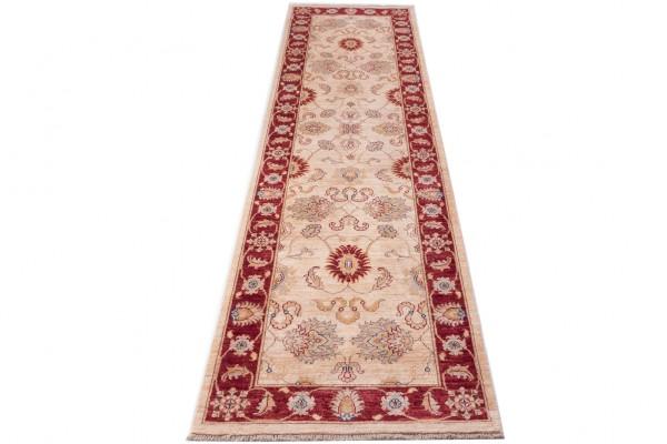 Afghan Chobi Ziegler 290x84 Handgeknüpft Teppich 80x290 Läufer Beige Orientalisch