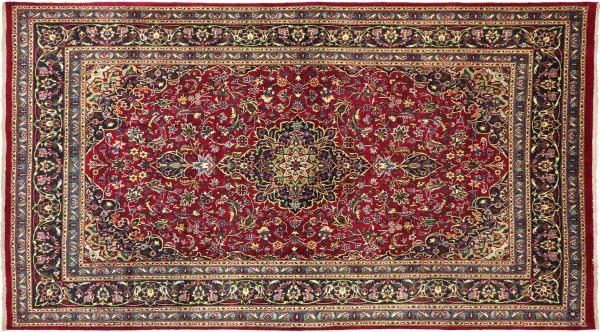 Perser Keshan Teppich 190x310 Handgeknüpft Rot Spiegelmuster Wolle Kurzflor Rug