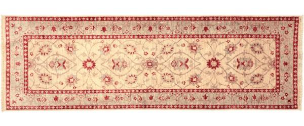 Afghan Chobi Ziegler 240x87 Handgeknüpft Teppich 90x240 Läufer Beige Orientalisch