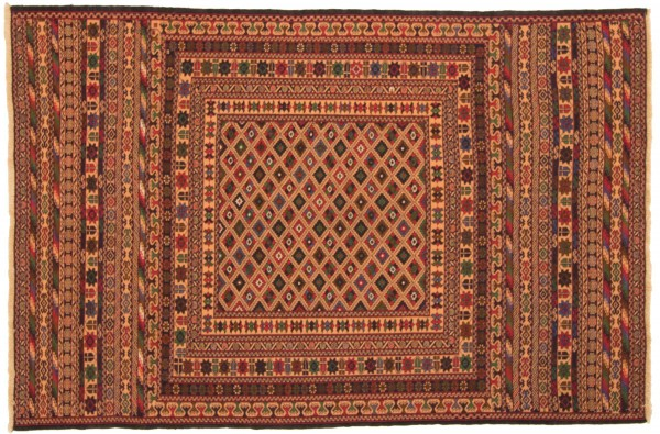 Afghan Mushwani Kelim 184x122 Handgewebt Teppich 120x180 Mehrfarbig Orientalisch