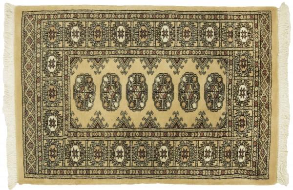 Pakistan Buchara 96x65 Handgeknüpft Teppich 70x100 Beige Geometrisch Muster Kurzflor