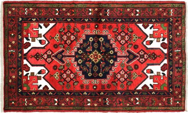 Perser Hamadan 145x100 Handgeknüpft Orientteppich 100x150 Rot Medaillon Wolle Kurzflor