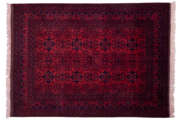 Afghan Belgique Khal Mohammadi 198x150 Handgeknüpft Teppich 150x200 Rot Geometrisch