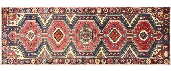 Perser Hamedan Teppich 110x300 Handgeknüpft Läufer Beige spiegelmuster Wolle Kurzflor