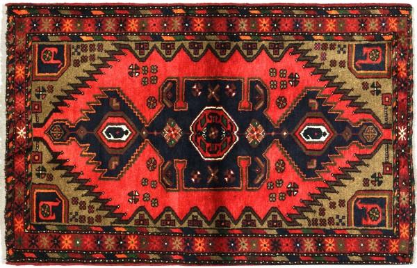 Perser Hamadan 136x97 Handgeknüpft Orientteppich 100x140 Rot Medaillon Wolle Kurzflor