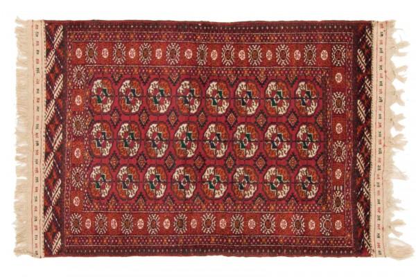 Kaukasus Buchara 140x101 Handgeknüpft Teppich 100x140 Rot Geometrisch Muster Kurzflor
