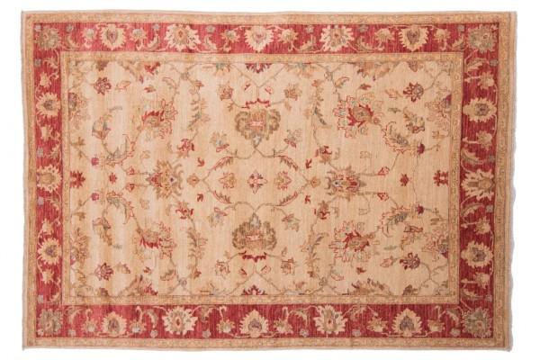 Afghan Chobi Ziegler 216x152 Handgeknüpft Teppich 150x220 Beige Orientalisch Kurzflor