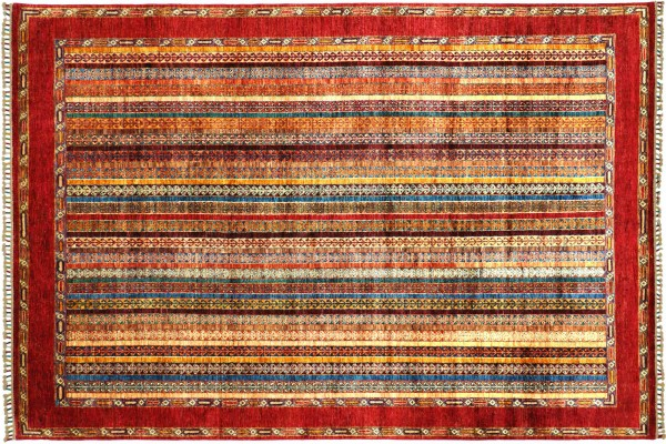 Afghan Khorjin Shaal 302x209 Handgeknüpft Orientteppich 210x300 Rot Gestreift Wolle