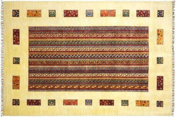 Afghan Ziegler Khorjin 300x207 Handgeknüpft Orientteppich 210x300 Beige Streifen Wolle