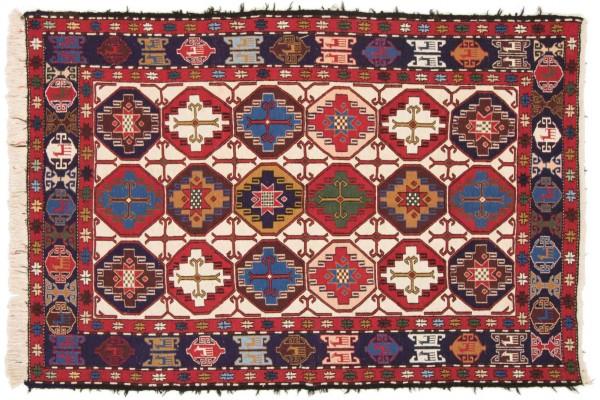 Perser Seidensoumakh 199x131 Handgewebt Teppich 130x200 Rot Orientalisch Handarbeit