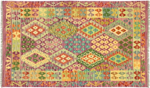 Afghan Maimana Kelim Bunt 155x102 Handgewebt Teppich 100x160 Bunt Geometrisch Orient