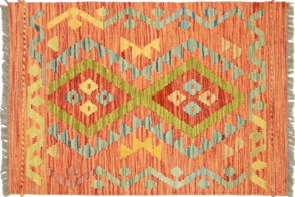 Afghan Maimana Kelim Bunt 80x61 Handgewebt Teppich 60x80 Bunt Geometrisch Orient Wolle