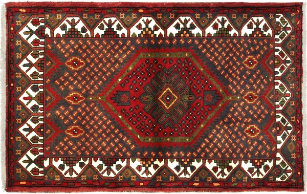 Perser Hamadan 138x100 Handgeknüpft Orientteppich 100x140 Braun Medaillon Wolle
