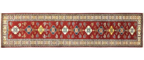 Afghan Kazak Fein 337x86 Handgeknüpft Orientteppich 90x340 Läufer Rot Blumenmuster