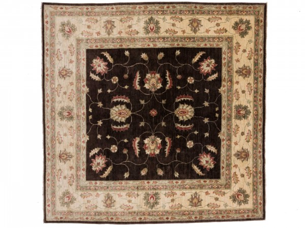 Afghan Chobi Ziegler 205x207 Handgeknüpft Teppich 210x210 Quadratisch Braun