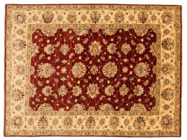 Afghan Chobi Ziegler 208x152 Handgeknüpft Teppich 150x210 Rot Blumenmuster Kurzflor