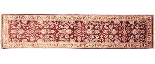 Afghan Chobi Ziegler 284x81 Handgeknüpft Teppich 80x280 Läufer Rot Orientalisch