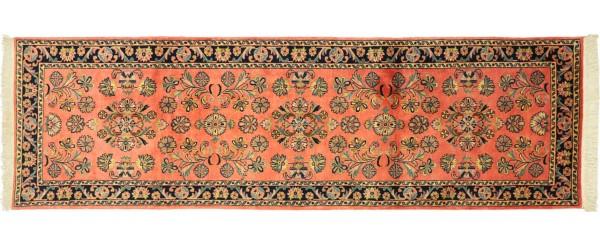 Sarough Teppich 80x240 Handgeknüpft Läufer Rosa Floral Wolle Kurzflor Rug