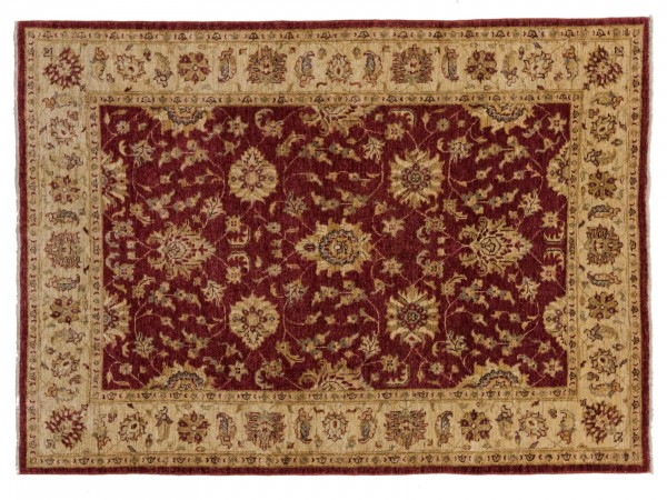 Afghan Chobi Ziegler 203x146 Handgeknüpft Teppich 150x200 Rot Orientalisch Kurzflor