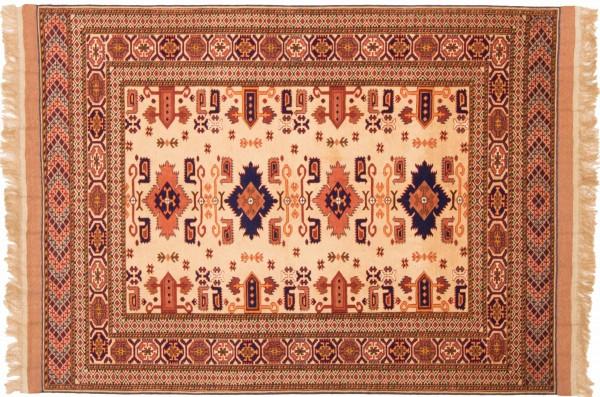 Afghan Mauri Kabul 156x118 Handgeknüpft Teppich 120x160 Beige Geometrisch Muster