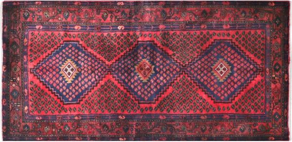 Perser Hamedan Teppich 110x200 Handgeknüpft Rot spiegelmuster Wolle Kurzflor Rug