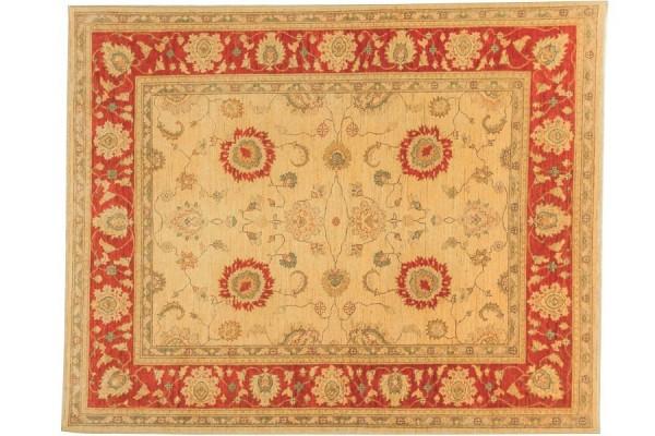 Afghan Chobi Ziegler 240x197 Handgeknüpft Teppich 200x240 Beige Orientalisch Kurzflor