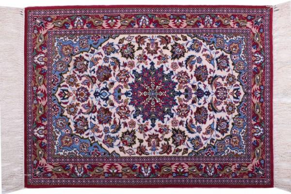Perser Isfahan 97x71 Handgeknüpft Teppich 70x100 Mehrfarbig Orientalisch Kurzflor