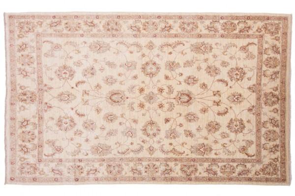Afghan Chobi Ziegler 228x141 Handgeknüpft Teppich 140x230 Beige Orientalisch Kurzflor
