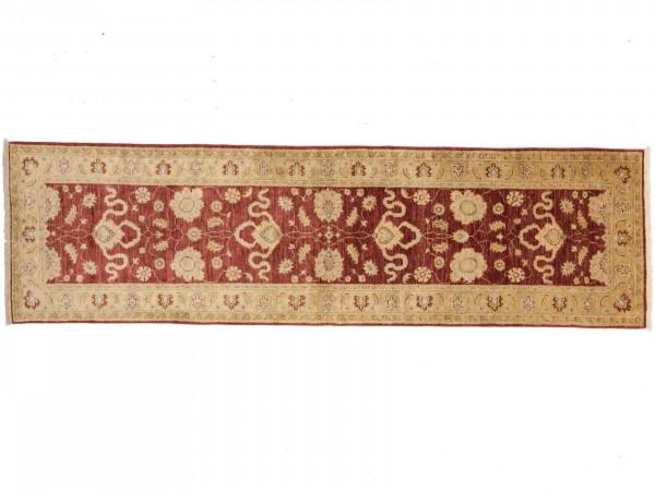 Afghan Chobi Ziegler 287x83 Handgeknüpft Teppich 80x290 Läufer Rot Orientalisch